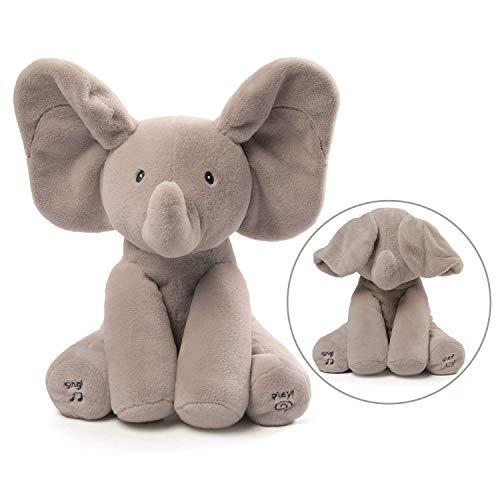 KINGEE-T Elefante de Peluche de Juguete Canciones de Canto Música Animada Orejas de Elefante Flappy Bebé de Peluche para Niños Muñeca de Regalo,Lightgray