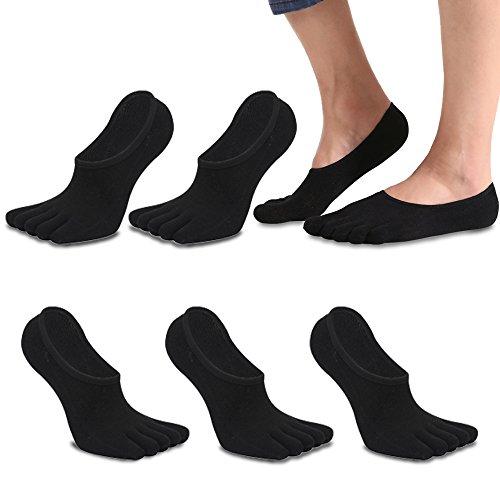 REKYO Männer Zehen Socken Low Cut fünf Finger Socken weichen und atmungsaktiven niedrig geschnittene Baumwollsocken für Männer (Schwarz)
