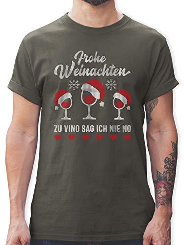 Weihnachten & Silvester - Frohe Weinachten - Zu Vino sag ich nie no - Weingläser - L - Dunkelgrau - l190_Shirt_Herren - L190 - Tshirt Herren und Männer T-Shirts