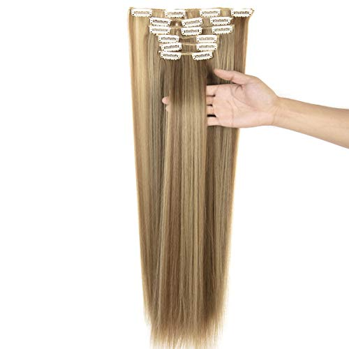 """24""""-26"""" Clip in Hair Extensions 6Pcs 16 Clips Curly Wavy Straight Thick Clip on Synthetic Hair Extension Hairpieces"""