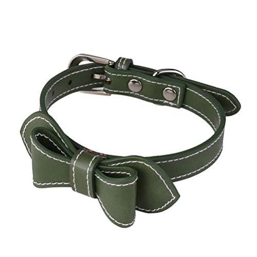 Balacoo Hundehalsband Welpe Verstellbares Halsband Bowknot Welpenkette Pu Lederhalsband für Kleine Hundekatze (Grün)