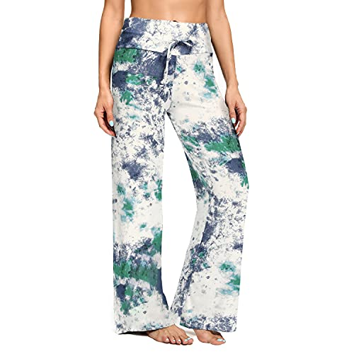 ZOOSIXX Women's Buttery Soft Pajama Pants   Floral Print Drawstring Casual Palazzo Lounge Pants Wide Leg   For All Seasons (B-sky Blue 2, XX-Large)