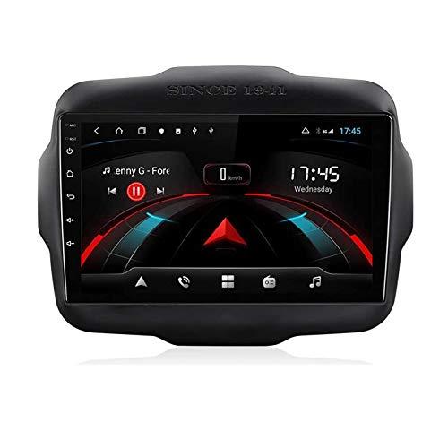 Nav Android 10.0 Car Stereo Double DIN para Jeep Renegade 2014-2018 Navegación GPS Unidad Principal de 9 Pulgadas Reproductor Multimedia MP5 Receptor de Video y Radio con 4G WiFi DSP Carplay
