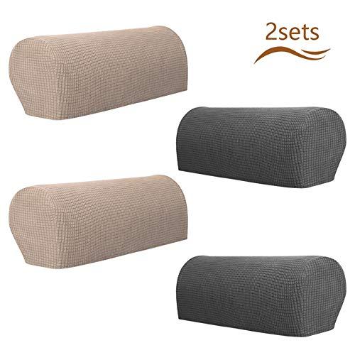 Matogle 2 Set Armlehnenbezüge Armlehnenschoner verstellbar Stretch Armlehnenpolster Samt Stuhl weiche Polyester Armkappen Möbelbeschützer für Stuhl Sofa Sessel Couch (in Grau und Khaki)