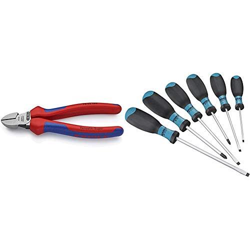 KNIPEX 70 02 160 Seitenschneider, präzises Schneiden bis Ø 4,0 mm, mit Mehrkomponenten-Griffhüllen, 160 mm & HAZET Schraubendreher-Satz 810SPC/6