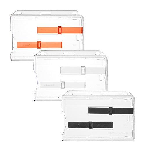 Karteo® porta carta d'identità per 2 carte   Porta carte orizzontale in plastica rigida   Porta badge trasparente con due slot