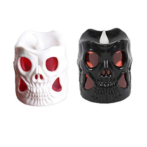 Amosfun - Juego de 2 lámparas LED de calavera para Halloween, multicolor, calavera, luz nocturna, para Halloween, fiestas, mesas, habitaciones, bares, decoración (blanco y negro)