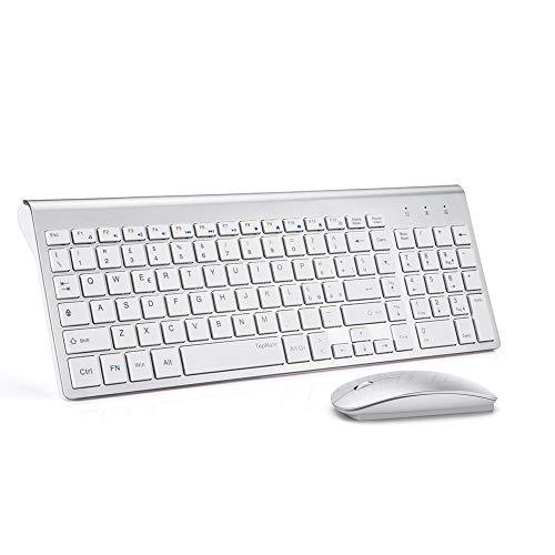TopMate Wireless Keyboard e Mouse Combo 2.4GHz Ultra Sottile Silenzioso Tastiera e Mouse Wireless Design Ergonomico per PC Laptop | Bianco Argento