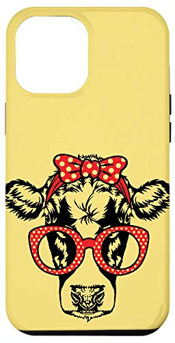 iPhone 12 Pro Max Yellow Cute Cow Red Glasses Polka Dot Bandana Bow Farm Gift Case