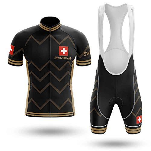 Maillot De Ciclismo Conjunto Para Hombre,Rayas Marrones Negras Bandera Suiza Mtb Ropa...