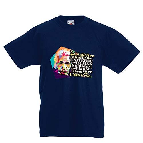 lepni.me Kinder Jungen/Mädchen T-Shirt Wissenschaftler Physik Albert Einstein Menschliche Dummheit Sarkastisches Zitat (7-8 Years Dunkelblau Mehrfarben)