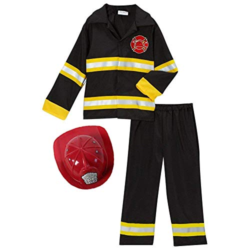 Fireman Fire Fighter Halloween Dressup Costume & Red Hat (4-6, Black/Red)