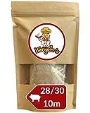 Boyau de Porc Naturel 28/30 - Comparable à celui des charcuteries - Résistant à la cuisson - Convient pour le fumage et le barbecue (28/30 10m)