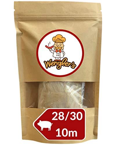 Estuche de Tripas de Cerdo 28/30 Wengler Equiparable a Las de carnicería - Resistente a la cocción - Apto para ahumar y Barbacoa (10m (28/30))