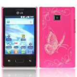 Shell morsetto copertura copertura di caso della farfalla della pell LG E400 Optimus L3 Custodia Smartphone Hard Case Hot pink