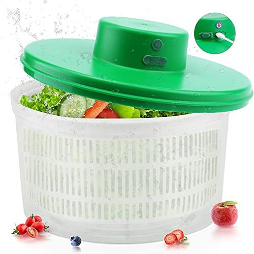 SEDISON Large Electric Salad Spinner,Vegetable & Fruit Quick Washer Dryer Drainer, Free Hands Design Lettuce Spinner Drainer with Bowl and Colander Large Compact Storage for Vegetables& Fruits,Green