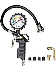 URAQT Manometro Presion Neumaticos, Manómetro Digital, Manómetro de Neumáticos, Medidor de Presión de Neumáticos con Manguera y Acoplador para Motocicleta, Bcicleta y Coche