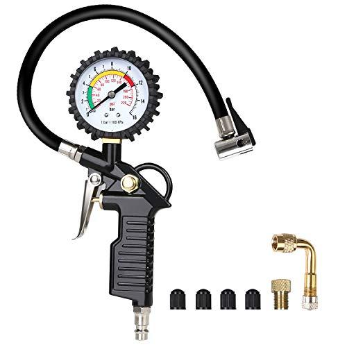 URAQT Luftdruckprüfer, Reifenfüller Reifendruckprüfer, 220 PSI-Reifenfüll-Messgerät Reifendruckmesser Multifunktion Luftdruckprüfer mit Ventil Kern Werkzeug, Kompressor Zubehör, Schwarz (#1-Schwarz)