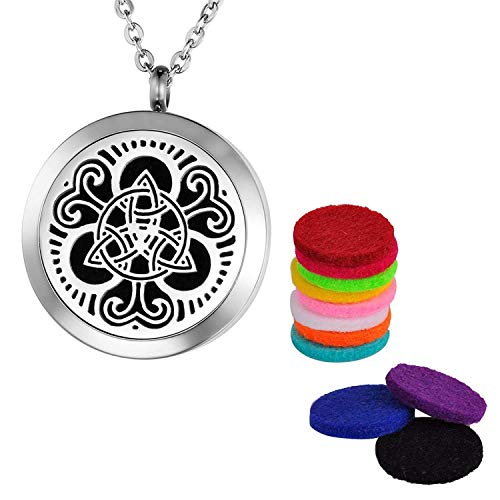 Valyria Celtic Knot Aromatherapy Essential Oil Diffuser Necklace,Stainless Steel Locket with Faith:(F) Forwarding;(A) All;(I) Issues;(T) to;(H) Heaven Engraved
