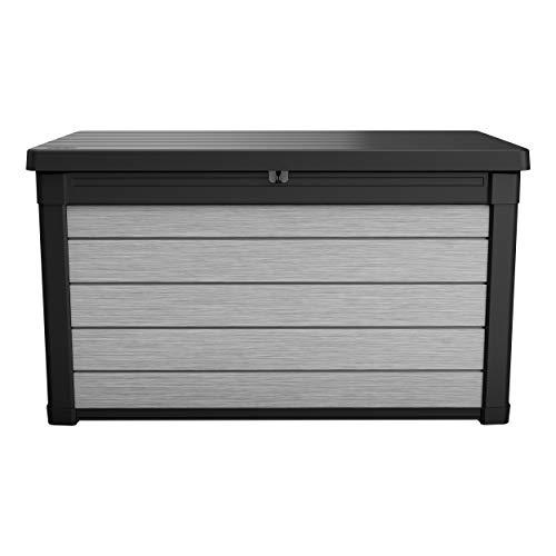 Aufbewahrungsbox Maxi - hochwertige Gartenbox mit Gasdruckfedern - viel trockener Stauraum für Sitzauflagen oder Gartengeräte - 100% wasserdicht - mit Belüftungssystem (Maxi 380 Liter)