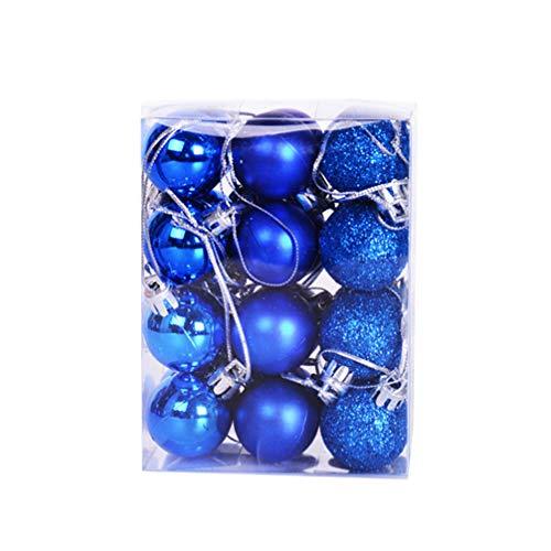 ABOOFAN - Palline di Natale in plastica infrangibili, 24 pezzi, colore: Blu glitterato