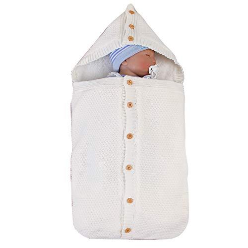 puseky bebé recién nacido de punto saco de dormir cochecito de abrigo de lana gruesa cálida manta swaddle urdimbre con capucha para bebés niños niñas