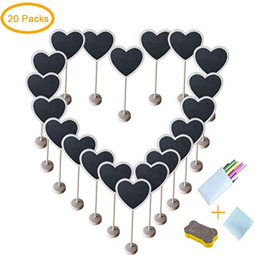 Chalkboards Signs with Support Easels, Place Cards, Small Rectangle Chalkboards Blackboard for Weddings, Birthday Parties, Message Board Signs and Event Decorations (Heart Chalkboard 1)