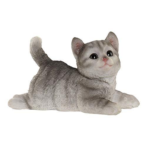 Figura Gato Tumbado Decorativa de Resina, Decoracion Interior. Diseño Animal/Realista 16X7,5X10,5cm - Hogar y Más - Gris