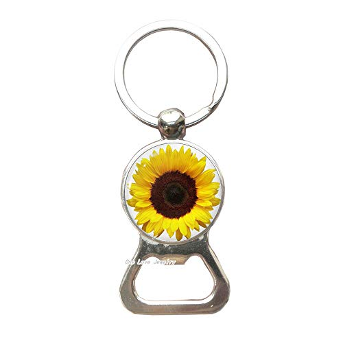 Best friend Bottle Opener Keychainsunflower Bottle Opener Keychainbff Bottle Opener KeychainBest Friend JewelryFlower Bottle Opener Keychain SunflowerTAP038