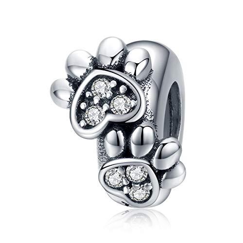 Teleye Abalorio de pulsera de plata de ley 925 con diseño de pata de mascota, compatible con pulseras Pandora, pulseras europeas