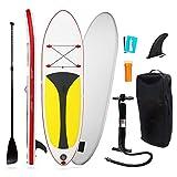DJXLMN Tabla de Paddle Hinchable, Tabla de Surf Sup, Bomba de Aire con manómetro, Tabla Flotante de Aluminio Ajustable, Adecuada para niños y Principiantes de Todos los Niveles,Rojo