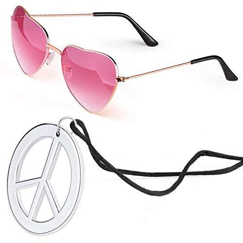 Beelittle Hippie Dressing Zubehörset Herzförmige Sonnenbrille Dünner Metallrahmen Herzstil und Friedenszeichen Halskette (Rosa)