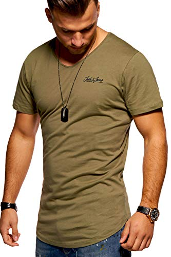JACK & JONES Herren T-Shirt Kurzarmshirt Oversize Longshirt Basic V-Neck (Large, Dusty Olive)