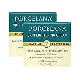 Porcelana Daytime Cream - Fades Dark Spots, Discoloration & Evens Skin Tone - Includes Sunscreen & Antioxidants (3 oz, Pack of 2)