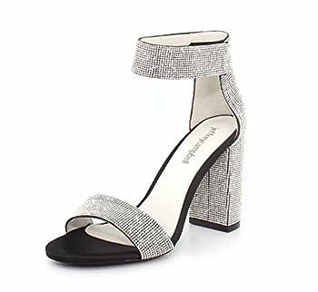 Jeffrey Campbell Womens Lindsay-JS-HH Black Satin Silver Sandal - 7