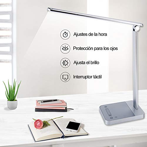 Lámpara escritorio LED con 6 Niveles,Lámpara de Mesa 3 Modos del color ajustable