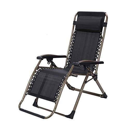 Qazxsw Sillas Plegables para jardín Sillas reclinables para Patio, Silla reclinable Plegable de Tela Negra Silla de Descanso para el Almuerzo de Gravedad Cero Sillas relajantes para jardín