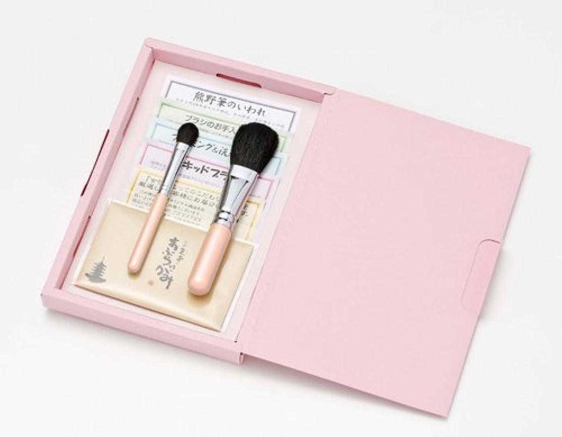 寝室を掃除するうなる抽象広島熊野筆 クリスタルピンク メイクブラシ ギフトセット №1
