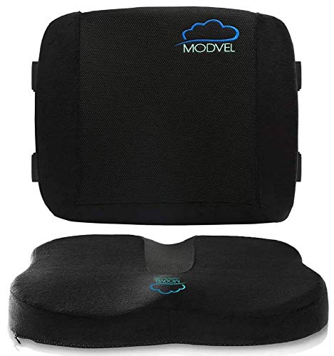MODVEL Set Lumbar Support Pillow for Office Chair and Car Seat Cushion-Ultimate Comfort Set Relieves Back, Tailbone Pain, Sciatica (MV-754)