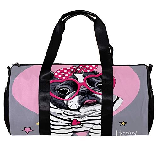 Bolsa de deporte redonda con correa de hombro desmontable, diseño de bulldog con corazón y gafas de sol, bolsa de entrenamiento para mujeres y hombres