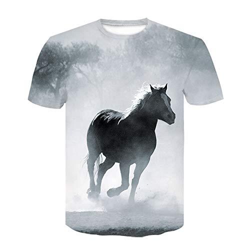 JKFDH 3D T-Shirt,Kreative Round Neck Short Sleeve Tops Neuheit Pferdedruck Harajuku Stil Lässige Atmungsaktive Streetwear Für Frauen Mann Indoor Outdoor Sport, Misty Waldpferd, 3XL