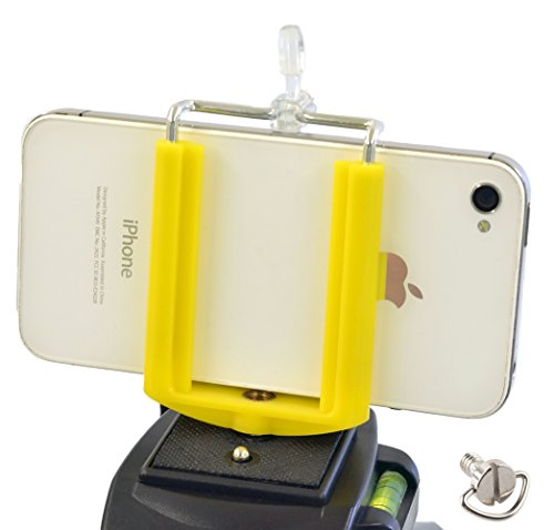 DaVoice Cell Phone Tripod Adapter Mount Holder Clamp Compatible with iPhone X XS Max XR Se 8 7 6 6s Plus Samsung Galaxy S9 S8 S7 Edge Adjustable Smartphone Bracket Clip Cellphone Attachment (Yellow)
