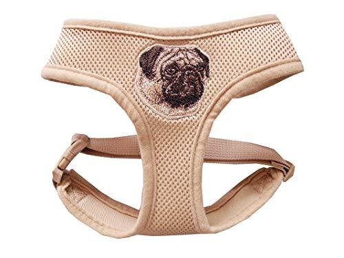 Beroni Geschirr für Mops Hundegeschirr Brustgeschirr beige mit Stickerei verstellbar für einen Halsumfang von 37 cm - 43 cm, für einen Brustumfang von 47 cm - 65 cm