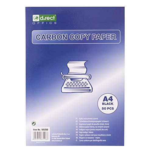 D.RECT Kohlepapier für Schreibmaschine, DIN A4, Maschindurchschreibepapier, CARBON COPY PAPER, schwarz, 50 Blatt
