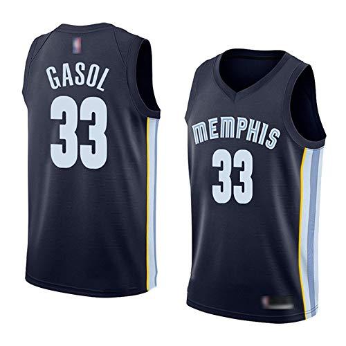 YQSB NBA Camisetas Grizzlies 33# Gasol Uniformes de Baloncesto Edición de Bordado,Darkblue,M