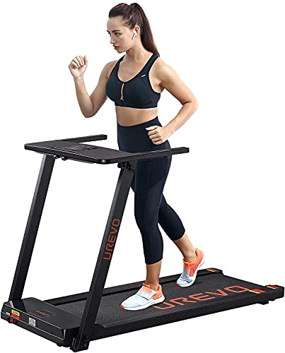 UREVO Folding Treadmills for Home,2.5HP Under Desk Electric Treadmill Workout Running Machine, Foldable Portable Compact Treadmill for Fitness Exercise Indoor Apartment with 16.5 Inch Wide TreadBelt
