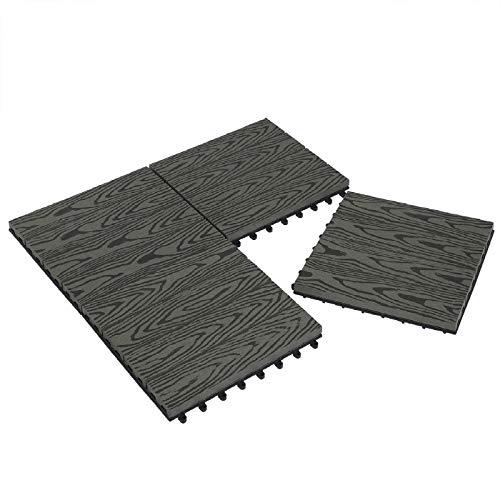 Laneetal Baldosas de Madera 30 x 30 cm Suelo de Exiterior WPC Juego de 11 Suelo Terraza Exterior para Jardín 1m² Suelo Madera Jardin Gris