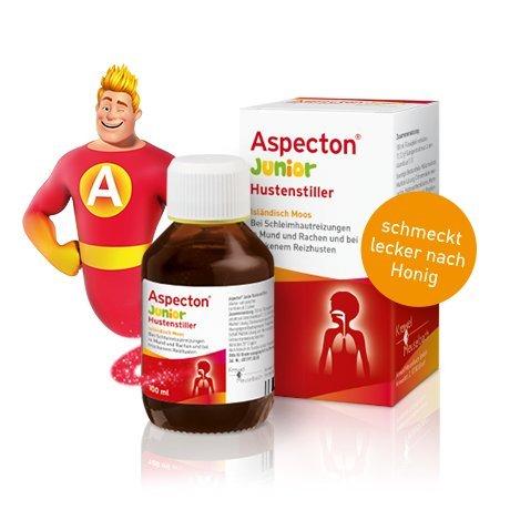 Aspecton Hustenstiller Junior Spar-Set 3x100ml. Hilft, Reizhusten zu lindern und die entzündete Atemwegsschleimhaut zu beruhigen. Reich an Isländisch-Moos-Schleimstoffen.