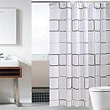 ufengke Duschvorhang Weißes Quadrat Mit 12 Haken, PEVA Wasserdicht Anti Schimmel Für Badezimmer,72