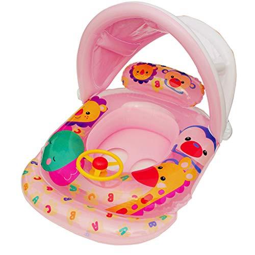 Sixcup® Mutter Baby Schwimmring Schwimmsitz,Aufblasbares Schwimmen Ring Kinderboot Entfernbare Sicherheitshilfe Float Sitzring mit Lenkrad Schwimmhilfe Spielzeug (Pink)